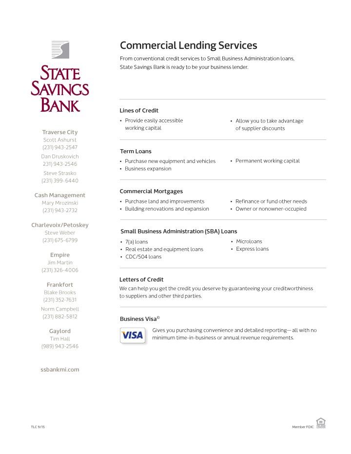 Commercial Lending Sellsheet - TCLC 9-17-15