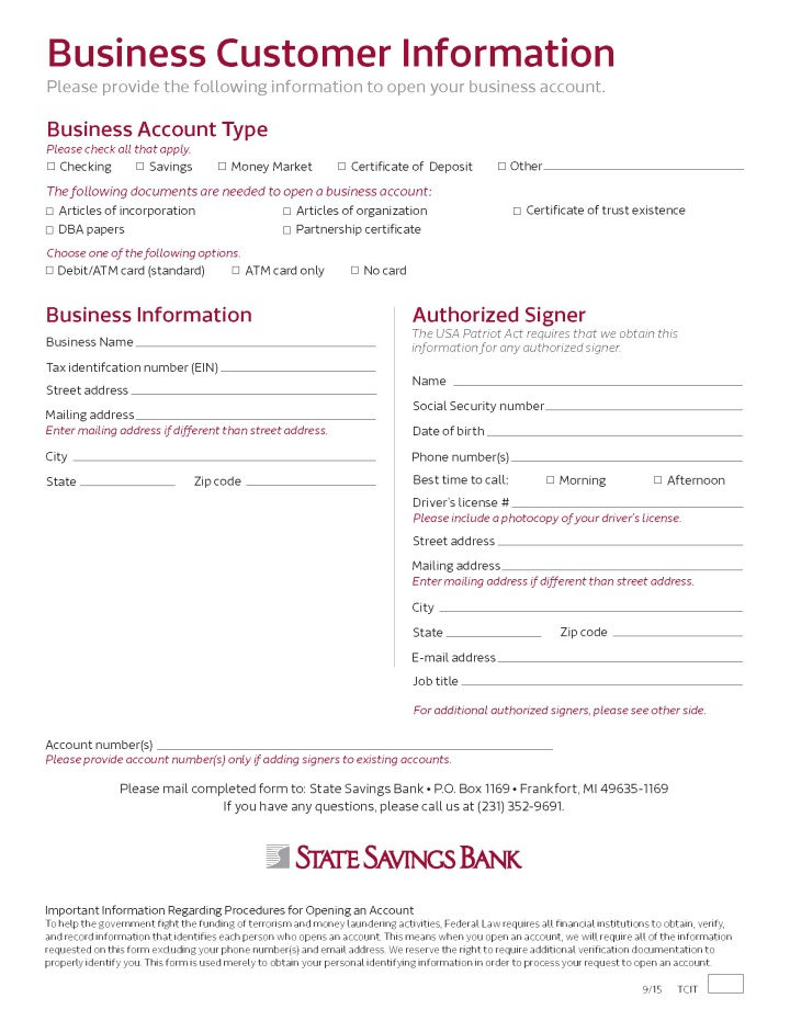 New Business Customer Set-up Form - New Acct Kit