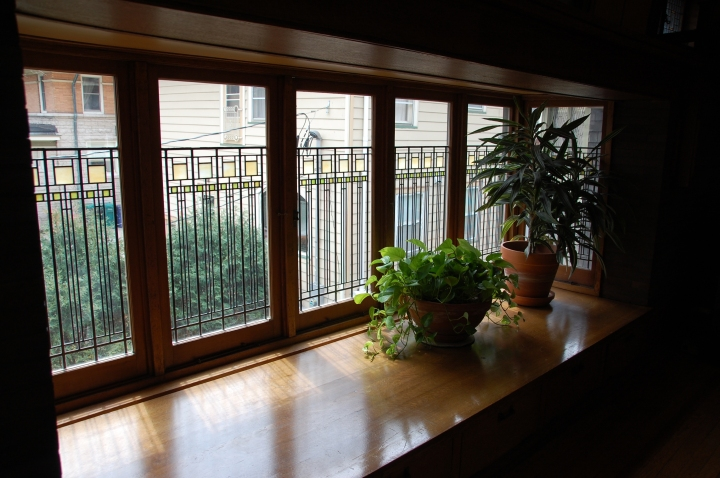 Frank Lloyd Wright Home and Studio Chicago Tour - Windows in Children's Playroom