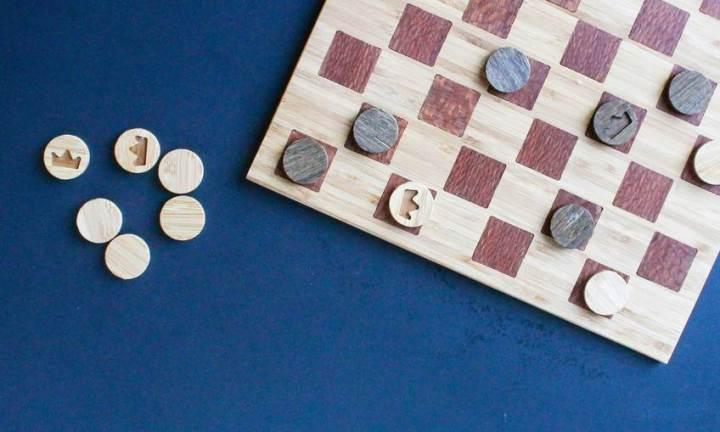 Bamboo and Padauk Inlay Checkerboard Set