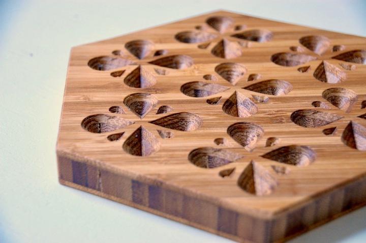 Bamboo Hexagon Teardrop Wooden Trivet 2