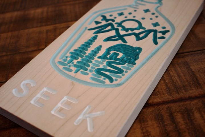 Seek Adventure V-Carved Sign Line Drawing 1